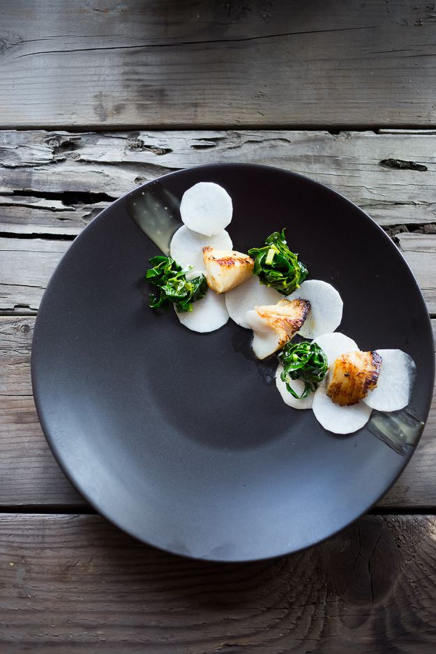 White Miso Black Cod With Pickled Daikon, Kale Nests And Miso Aioli