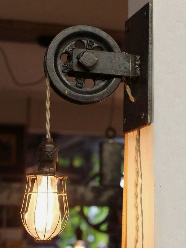 Rustic Pulley Wall Sconce Farmhouse Pendant Light With Caged