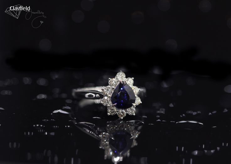 Stunning diamond and pear shaped sapphire ring, by Clayfield Jewellery in Nundah Village - North brisbane