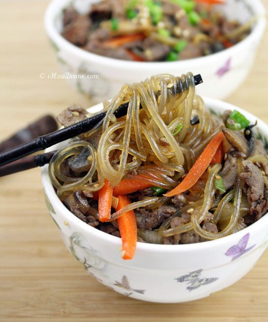 Bulgogi Japchae {Stir-Fried Noodles with Korean-Style beef}:  This popular dish is gluten-free, dairy-free, and easy to make.