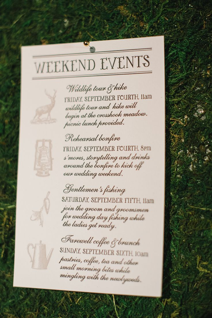 Wedding weekend itinerary.  The Aerialist Press. Photography: Delbarr Moradi - delbarrmoradi.com  Read More: http://www.stylemepretty.com/2014/01/31/woodland-wedding-inspiration-wiup/