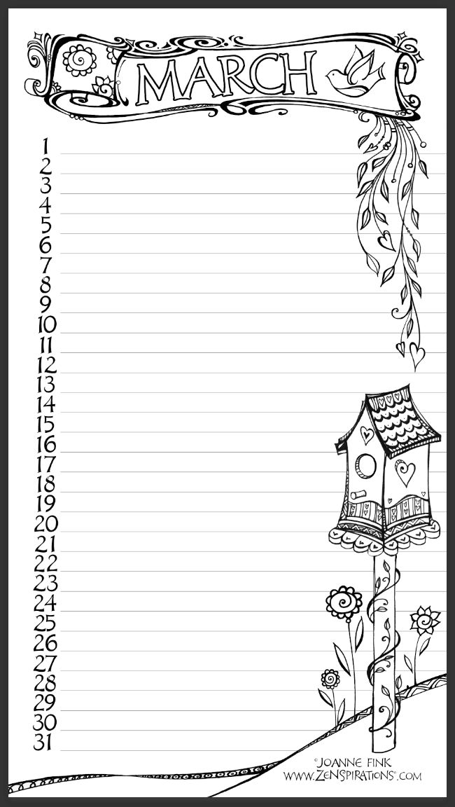 Don't miss the FREE MARCH CALENDAR Download on this week's Zenspirations Blog! Go for the Glitter! - Zenspirations