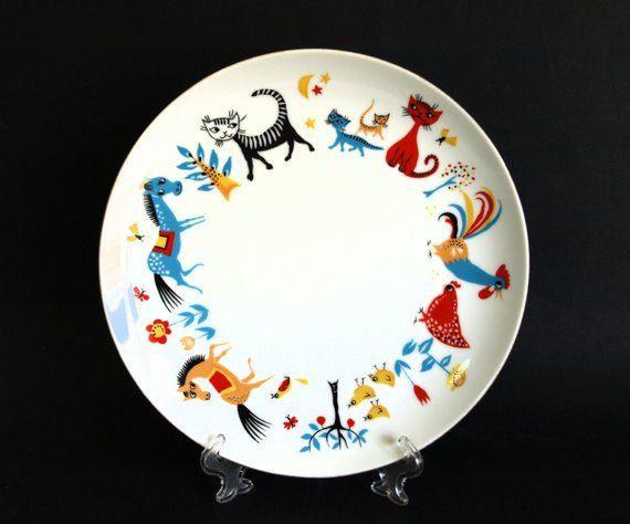 Westminster Farm Frolics Plate Vintage Kitty Cat Horse Children S Dinner Plate Kitty Cats Sweet Illustrations Plates Fine China Dinner Plates