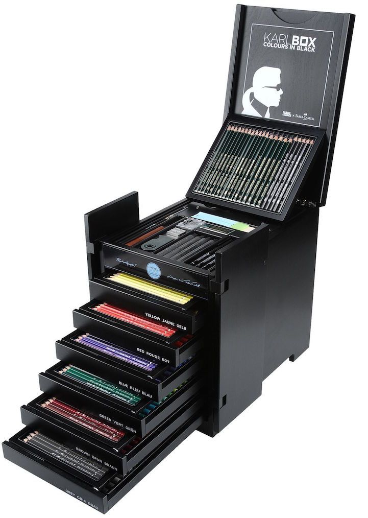 Iconic fashion designer Karl Lagerfeld has recently unveiled a new creation, and it has nothing to do with clothing. He has collaborated with Faber-Castell, one of the world's oldest manufacturers of pencils, to organize a limited edition set of art supplies. Called the Karlbox, the extensive collection features 350 tools for drawing and painting. Karlbox was built to resemble a traditional Chinese wedding chest, and each one is numbered to mark its exclusivity—only 2,500 of the kits in…
