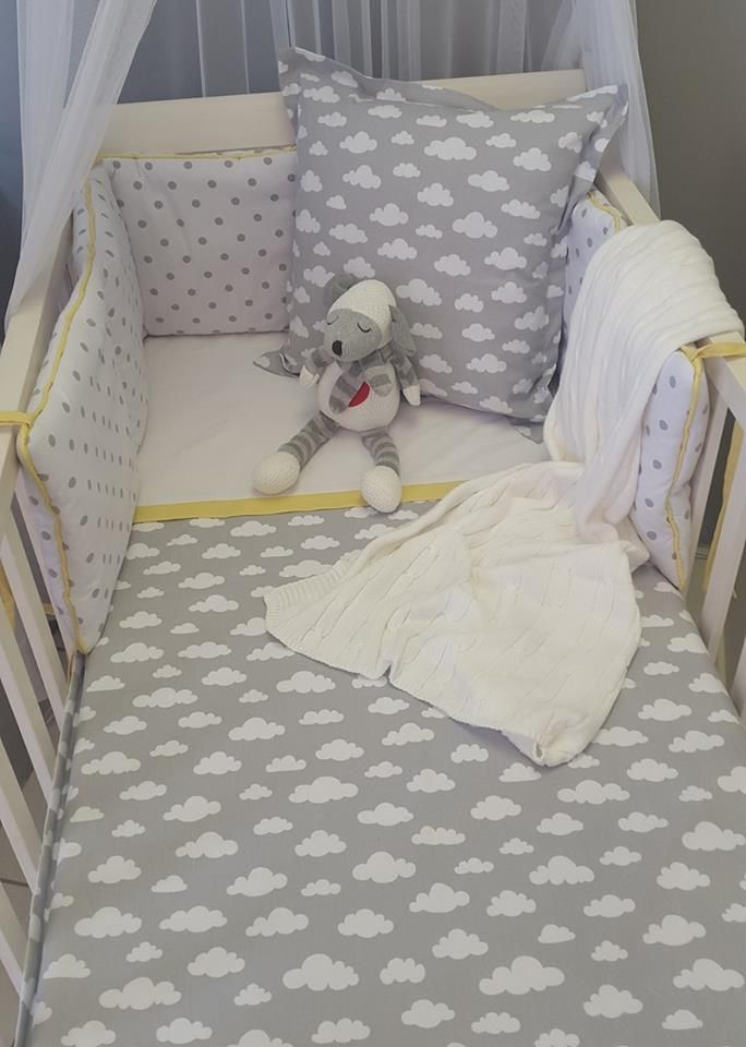 If you're looking for a something #Neutral, but with more colour, then our #Clouds in #GreyandYellow is perfect for your nursery!  #BabyBedding #BabyLinen