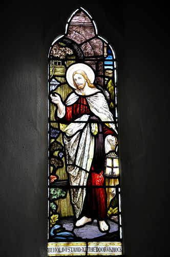 Cold Aston St Andrew south-west chancel window 'Behold I stand at the door and knock', Butler and Baynes 1909 -115