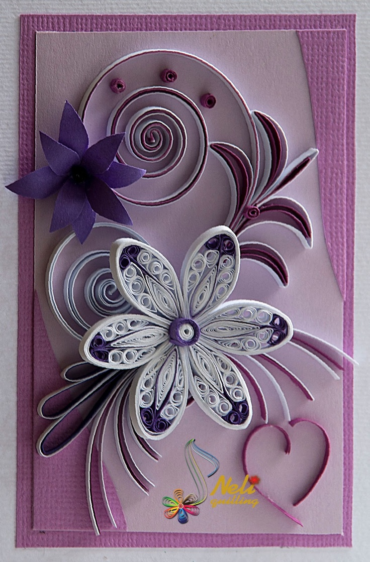 Purple Quilling Card Flowers Gardening Flower And Vegetables
