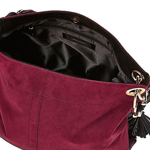 Dark red tassel slouch handbag