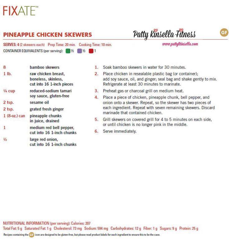 "21 Day Fix ""Fixate"" Cookbook Sneak Peek recipe Pineapple Chicken Skewers. Visit my blog for more healthy recipes & tips. www.pattylkinsella.com"