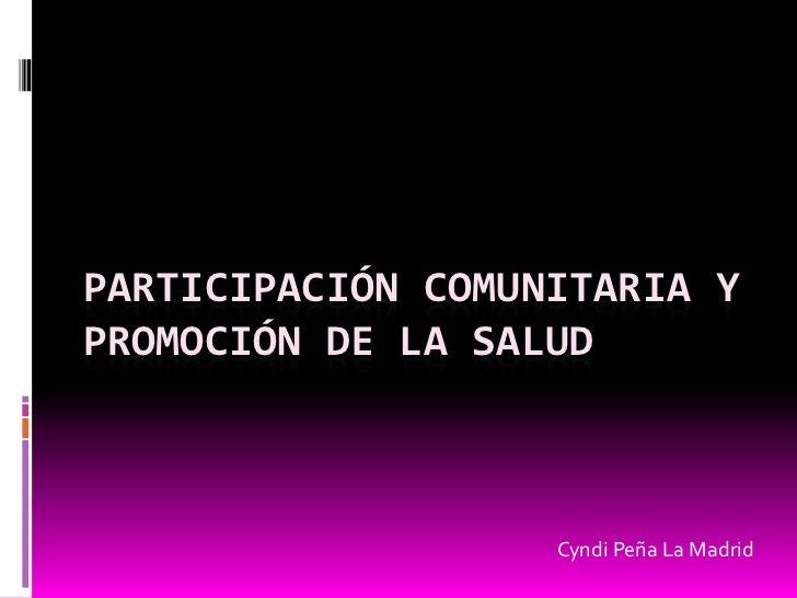 Participación comunitaria y Promoción de la Salud.