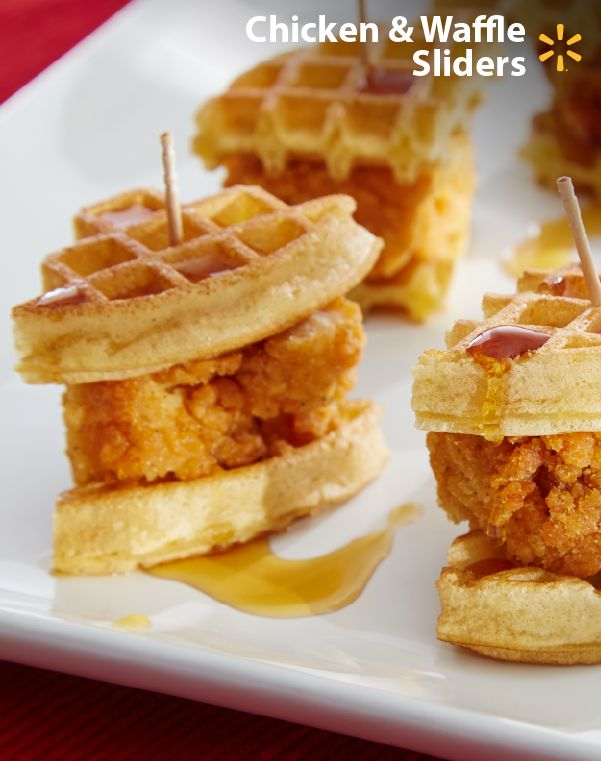 Bite-sized chicken & waffles! Be the football party MVP with these sweet & salty sliders. This recipe will score extra points w/ your friends & family. Dessert or appetizer? Frozen waffles, chicken & syrup make an easy tailgate snack.