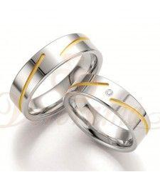 Ασημένιες βέρες γάμου με διαμάντι - breuning - 8035-8036