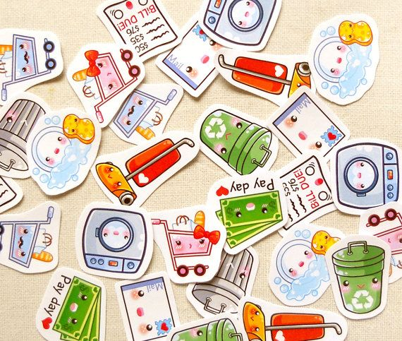 Cute Housework Planner Stickers: Kawaii Daily Chores Sticker Pack of 30, Life Planner Stickers, Erin Condren Planner, Cute Shopping Stickers