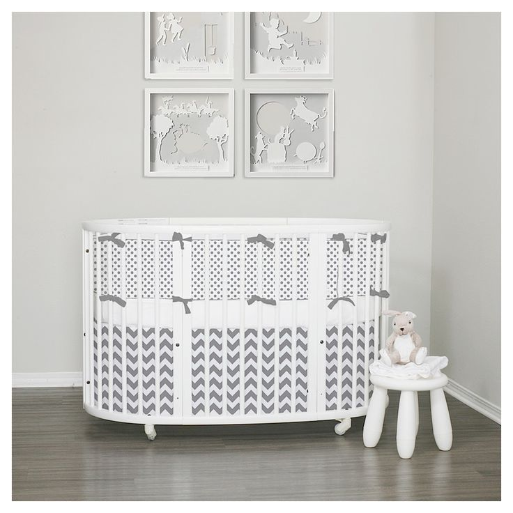 Stokke Sleepi 3pc crib set - gray. Create your dream bedding, custom made just for you. Neutral nursery ideas. Lublini.com #stokkecrib