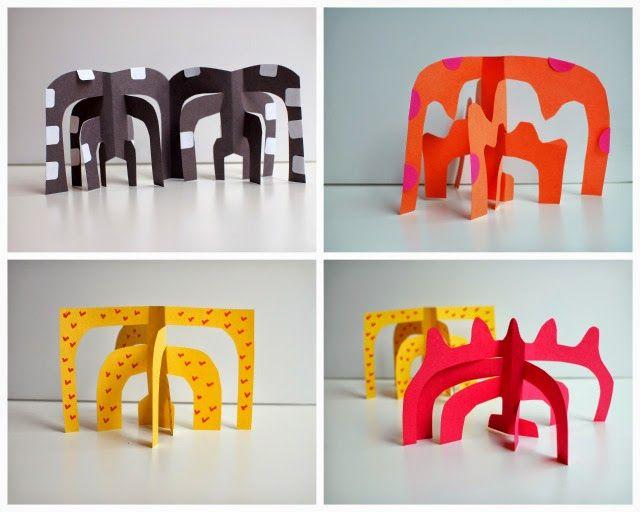Easy Kids art idea- Calder-inspired paper sculptures