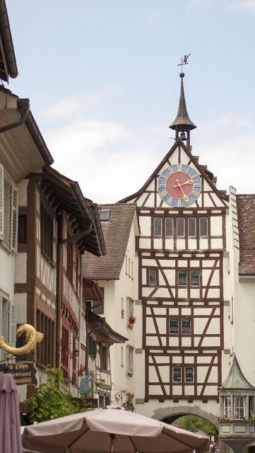 Clock tower in Stein am Rhein Switzerland