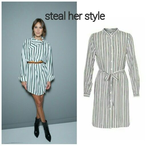 Steal Alexa Chung's style. Pin strip shirt dress