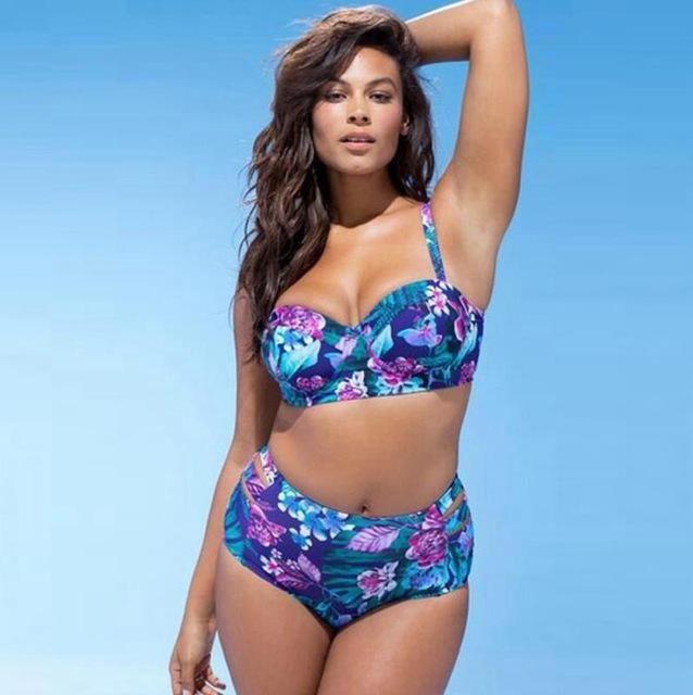 9dd3ca1f555 Bikini Set Plus size floral push up bikini plus size high waisted swimsuit  women floral swimwear large sizes halter swim suit KO 8