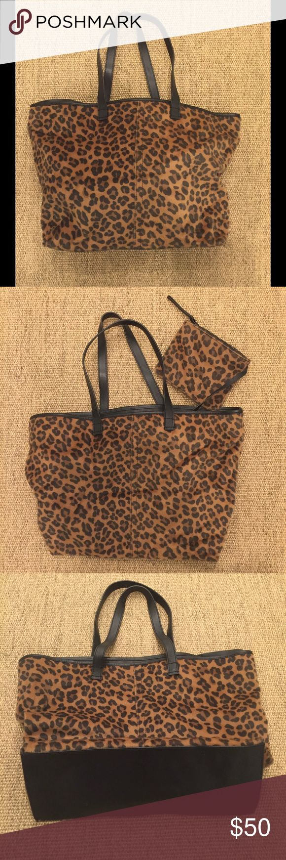 & Other Stories Leopard Print Tote Classic tote bag, leopard print with leather bottom and straps. Mini matching makeup bag attached inside. & Other Stories Bags Totes