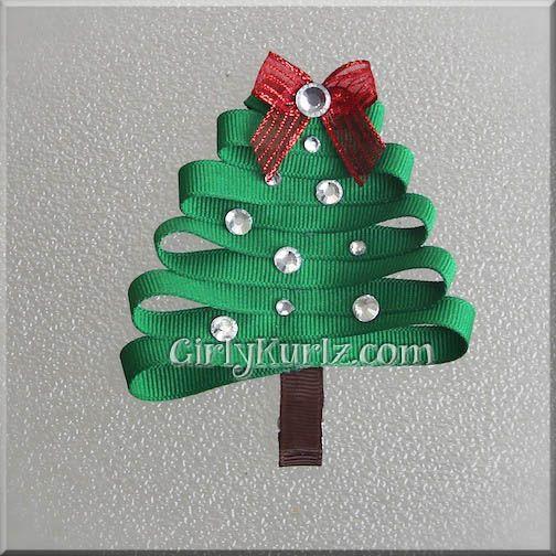 302 Best GirlyKurlz Hair Bows Hair Clips Flip Flops Images  - Christmas Tree Hair Bows