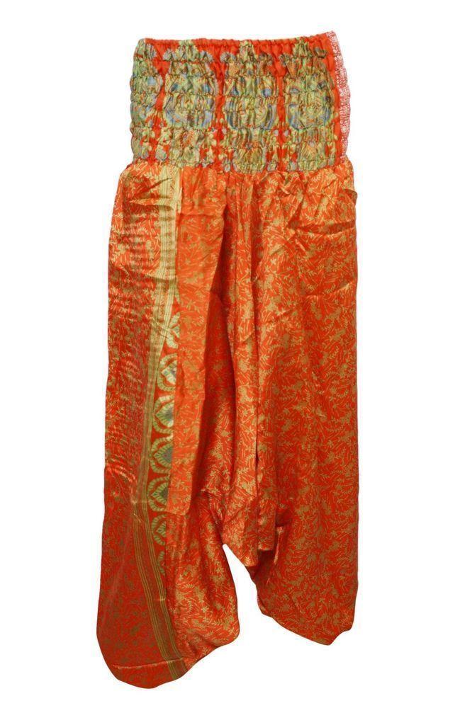61de539c6efc Women s Yoga Jumpsuit Orange Floral Print Vintage Sari Indian Hippie Harem  Pants  mogulinteiror  Harem