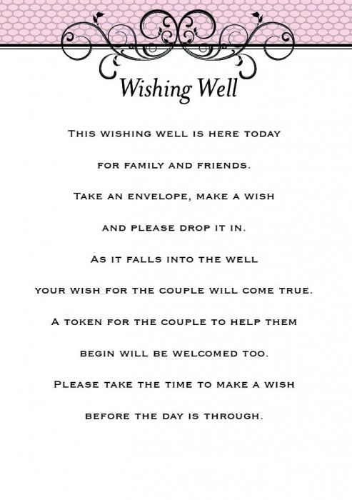 wishing well wedding no gifts - Google Search Wedding Inspiration ...