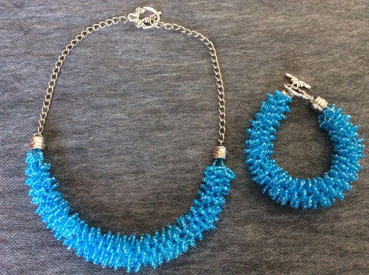 Colier şi bratară din mărgeluţe Toho bleu cu accesorii argintii. bijuterii.micky@gmail.com