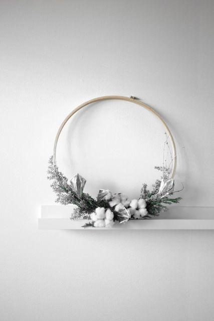 Inspiration : couronnes de Noël minimaliste et naturel - ornmements origami en diamant