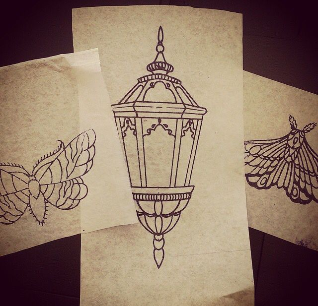 Simple lantern tattoo design