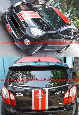Daihatsu Ayla Black - Red Mate Roof Wrapp, Red Mate & Silver Custom Stripes