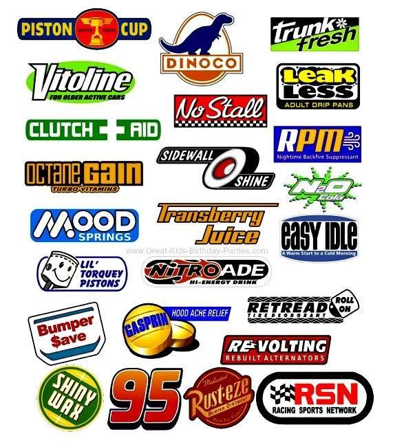 FREE Disney Cars Logos including Dinoco, Piston Cup, Rusteze, Leak Less, Tow Cap, No Stall, Tank Coat, Fiber Fuel, Mood Springs, Clutch Aid, Vitoline, Nitroade, Shiny Wax, Octane Gain, Gasprin.