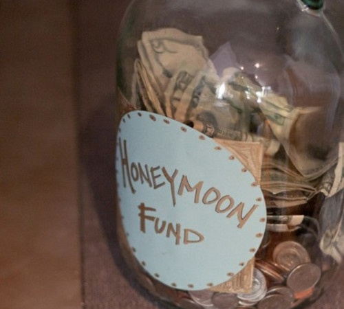 """@Ashley Walters Jamison have a """"Honeymoon Jar"""" at your wedding and see how much you get to spend on your honeymoon! Seriously... you'll spend more than you think... I can make this one.. easy or something similar to the other one I sent you....: Honeymoons Fund, Good Ideas, Engagement Parties, Spend Money, Cute Ideas, Gifts Tables, Honeymoon Fund, Bridal Shower, Great Ideas"""