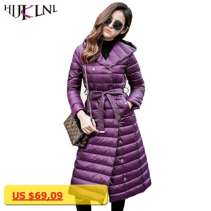 HIJKLNL abrigo plumas mujer Women Ultra Light Down Jacket Plus Size Long Hooded Down Winter Coat With Belt Parka Mujer QN591