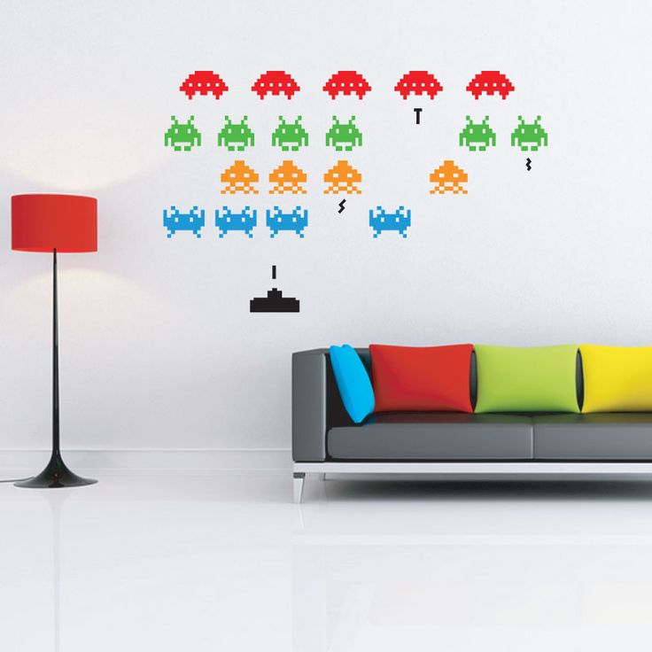 1000 images about house ideas on pinterest spaceships space probe and video games - Space invader wall stickers ...