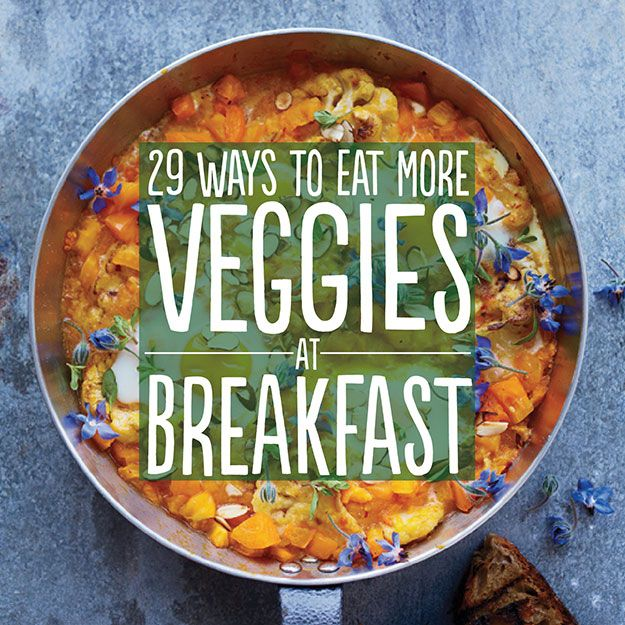 29 idea's to get more veggies in at breakfast, both Post workout and Anytime Meals.