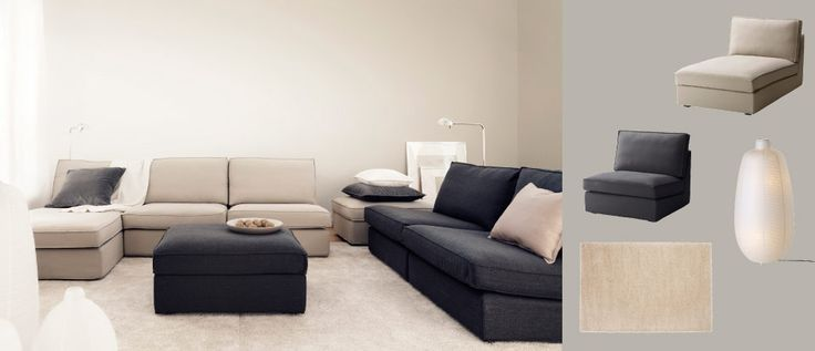 KIVIK sofa combination with Dansbo beige cover and sofa combination plus footstool with Dansbo dark grey cover