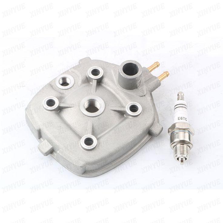 2 stroke Cylinder Head+ E6TC spark plugs for Minarelli Malaguti F12 Phantom 50 LC R F15 Firefox 50 LC 50cc 60cc 70cc 40mm- 47mm  #Affiliate