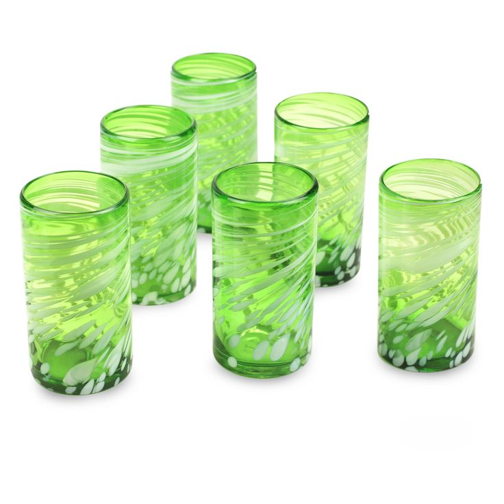 Novica Set of 6 Handmade Glass 'Festive Green' Drinking Glasses (Mexico) (Solid), Green