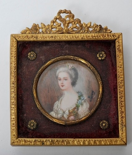 FRENCH BRONZE GILT FRAME WITH MINIATURE PORTRAIT