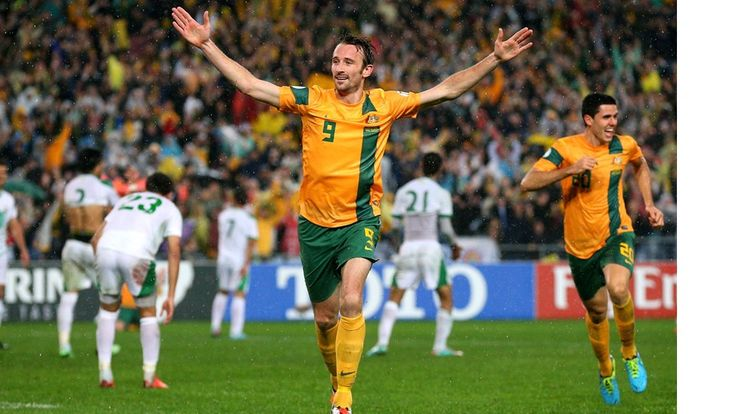 Joshua Kennedy celebrates a goal as Australia qualifies for the 2014 World Cup