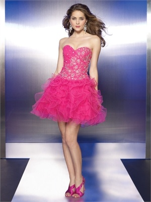 Tulle with embroidery and beading A-Line Short Length Cocktail Dress CTD008 www.tidebridaldresses.com $129.0000