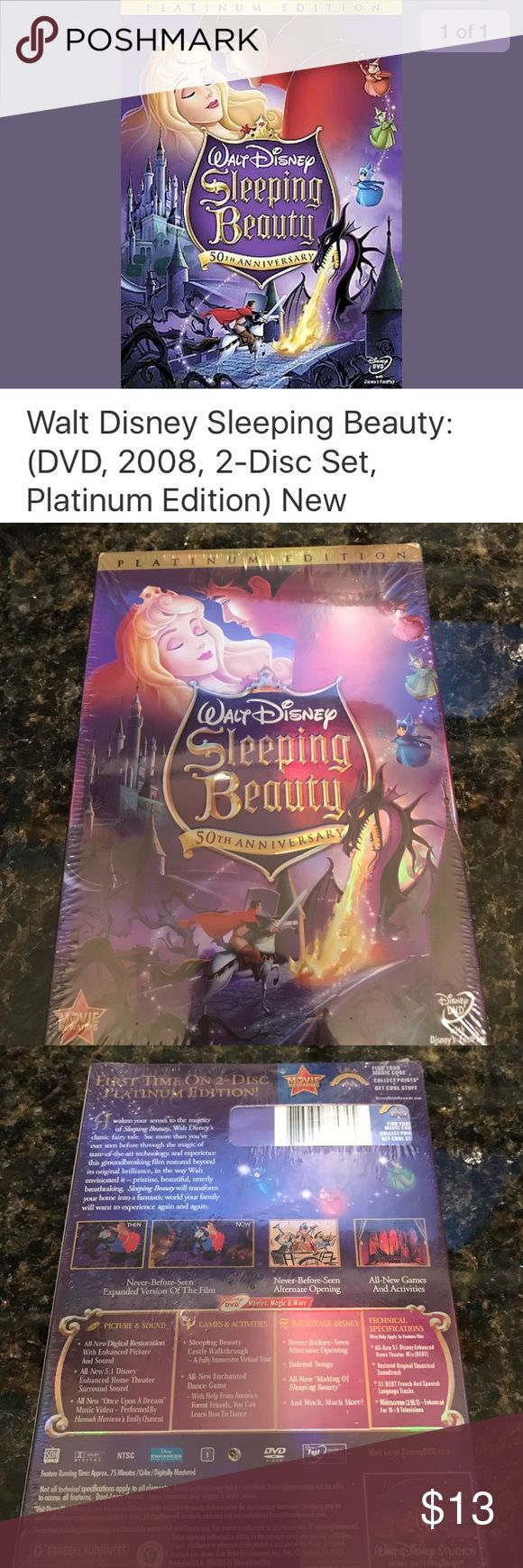 "Sleeping Beauty, Platinum Edition 2 Disk DVD. NWT! One of Walt Disney's celebrated classics - the ""Sleeping Beauty"" movie is now available on this two-disc set. Digitally restored in HD, this two-disc set revives the film in full glory. Moreover, the soundtrack of this animated classic has been reproduced in Dolby Digital surround sound especially for this DVD. You can also enjoy a never-before-seen alternate opening, a castle walk-through, and a music video on this DVD of the children's…"