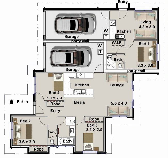 House Plans With 4 Bedrooms Inspirational 3 Bedroom Plus Granny Flat Plans Granny Flat Plans 2 Bedro 4 Bedroom House Plans Affordable House Plans House Plans
