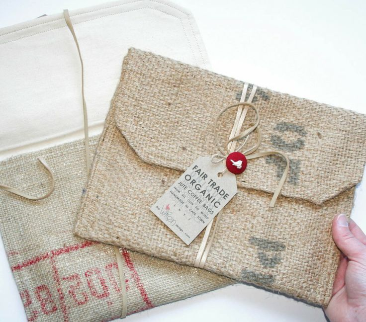 This is an iPad cover, but I'd like to make my own smaller envelope (made of burlap, tied with string and a festive button with tag) for a special card...any occasion
