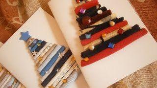 How to make rolled fabric Christmas card - Christmas diy Olga's dreamland - YouTube