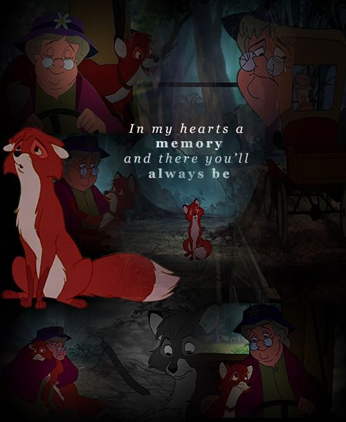 {Disney Challenge - Day 8: Saddest Moment} Hands down -- when Widow Tweed leaves Tod. Oh my God. My heart breaks EVERY time. Just thinking about it makes me so, so sad. This will forever be the saddest moment in Disney to me.