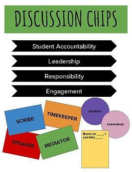 My goal in English is to make kids think. To really coerce it out of hesitant kids, and to bring out the leadership skills each kid has. These chips divvy out roles to each student in a group. Students are held accountable, there is structure, and the kids can have so much more ownership in what they are producing in discussion.
