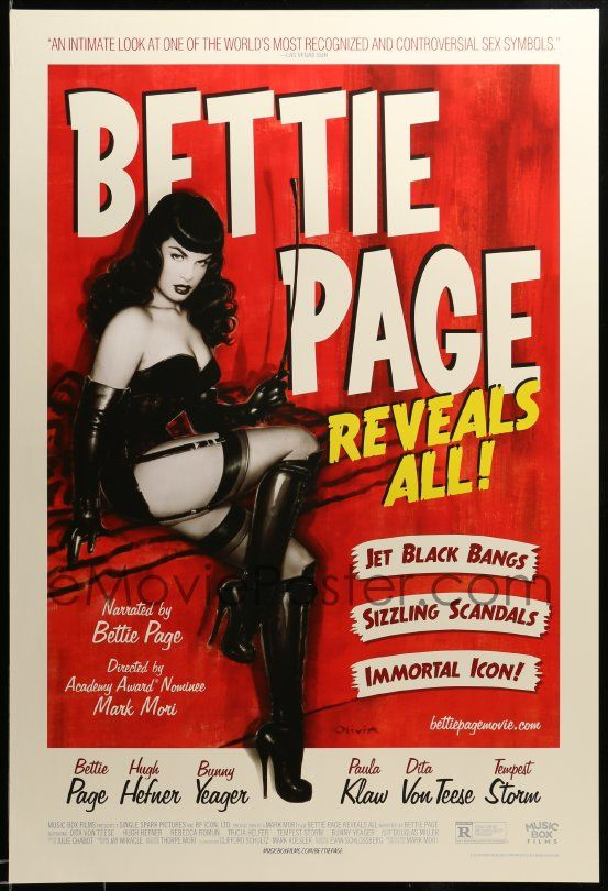 1 of 1 : 3w113 BETTIE PAGE REVEALS ALL DS 1sh '12 great artwork of the sexiest star by Olivia De Berardinis!