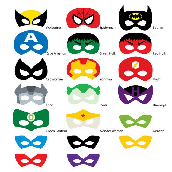 Photo Booth Props Superhero Masks DIGITAL DOWNLOAD DIY Ironman Batman Spiderman