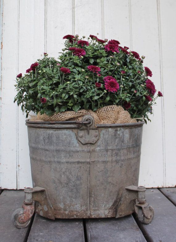 Vintage Zinc Mop Bucket On Wheels With Handle // Old Rustic Pail // Aged patina // Garden Porch Decor